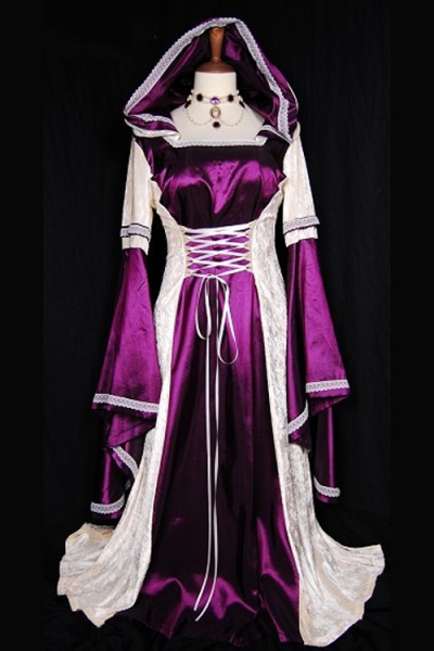 Brilliant Fuschia Long Gown Longsleeve With Perfectly White Silky and Glossy Fabric Accent