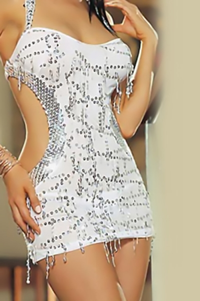 Glamourous White Mini Dress With Silver Sequin Fringe and Accents, Halter Neckline and Cut-out Sides