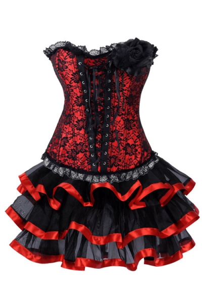 Black and Red Net Overlay Mini Corset Dress With Large Corsage Detail