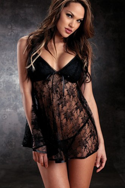 Alluring Black Sheer Lace Body Flow Intimate Apparel Dark Cup Halter Open Mini Plunge Top