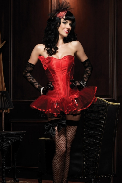 Seductive Red Overbust Corset without Tutu Mini Skirt, Side Zipper