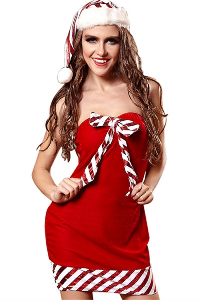Gorgeous Red Christmas Dress With Stripe Trim And Stripe Hat