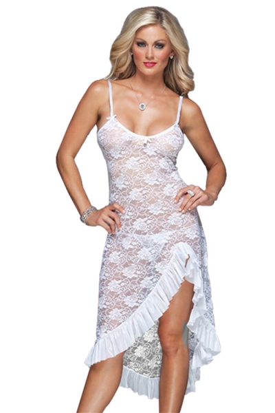 95bd2f8e69d White Plus Size Floral Lace Gown Dress With Matching Thongs