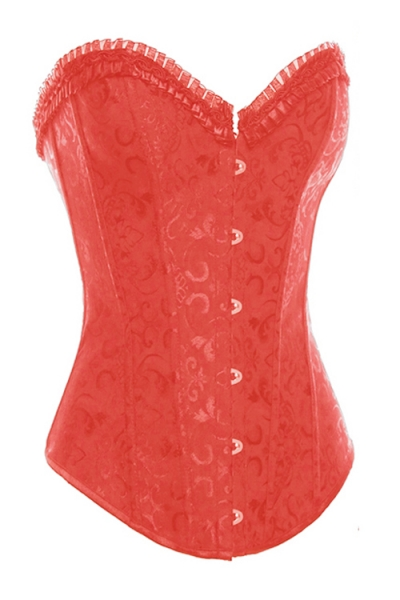 4d0f8f6dd9 Red Steel Boned Overbust Corset With Floral Jacquard Print and Satin Ruffled  Trim