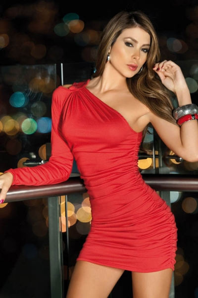 Sexy One Dress Hot Club Shoulder Off Mini Red 92EIHWD